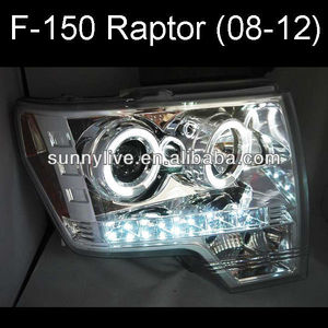 For FORD F-150 Raptor 08-12 Head Light LED Angel Eyes Silver Color V3