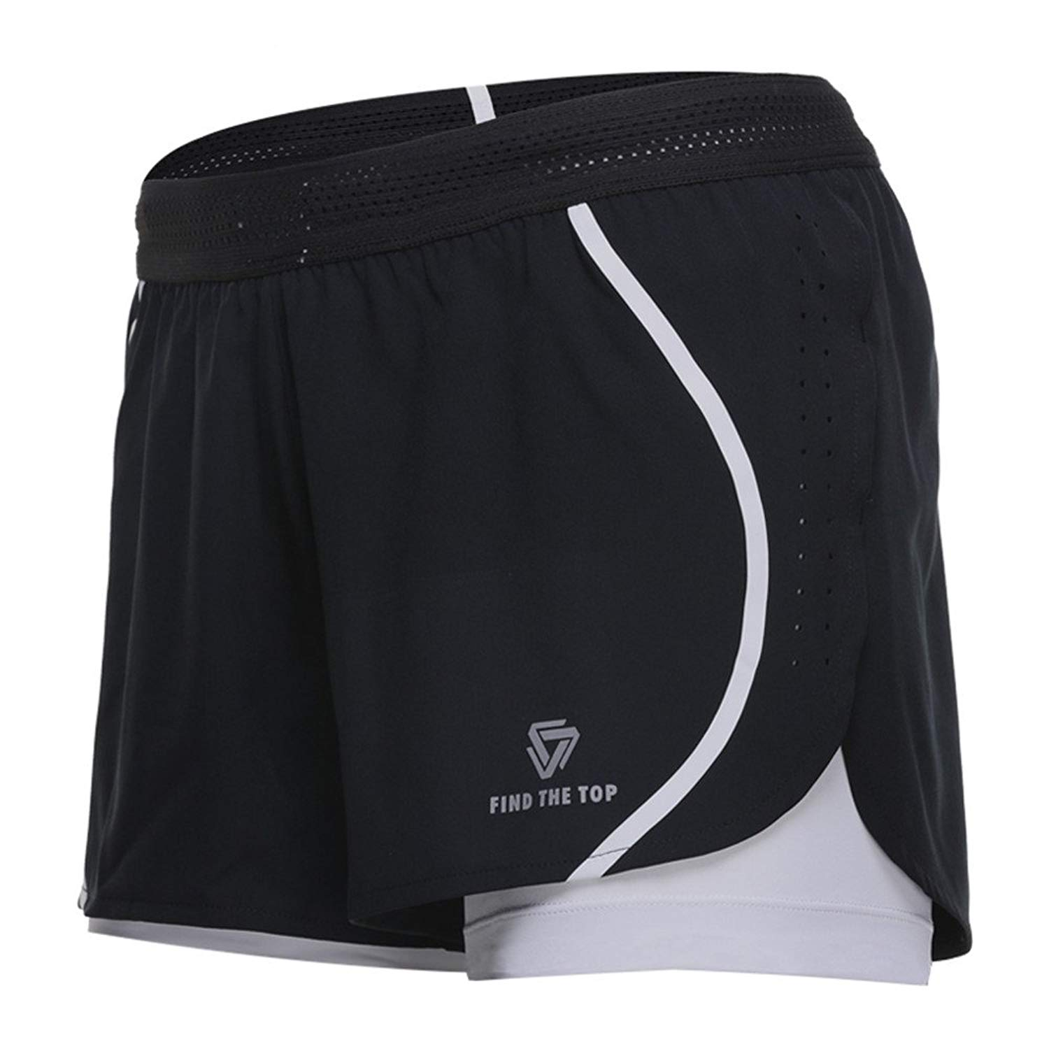 VANSYDICAL Women 2 in 1 Yoga Shorts Quick Dry Fitness Gym Shorts Cool Lades Running Jogging Sports Shorts Plus Size Shorts