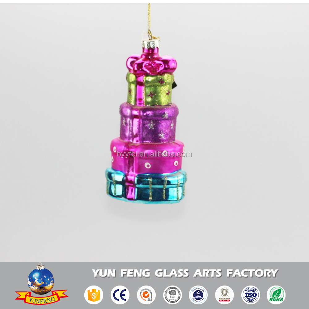 Glass crafts Christmas tree decorations hanging cake ornaments