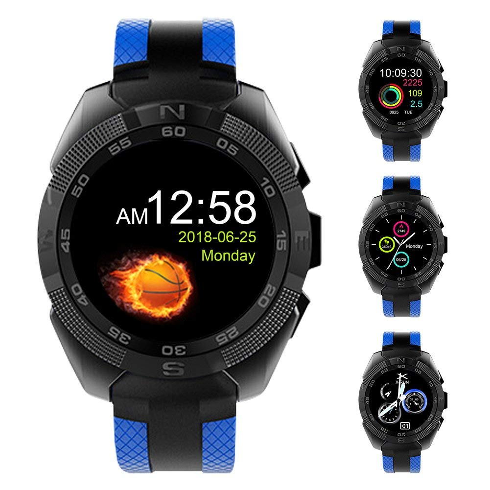 """Padcod Sport Smart Watch, Health Monitor, BT Talking, SMS Message Display, Alarm Clock, Remote Phone Camera/Music Control 1.54"""" Color Screen Bluetooth Smart Watch (Blue)"""