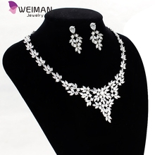 White Gold Plated Sparkling Clear Cubic Zirconia Marquise Leaf Design Zircon CZ Necklace Earring Jewelry Set for Bride