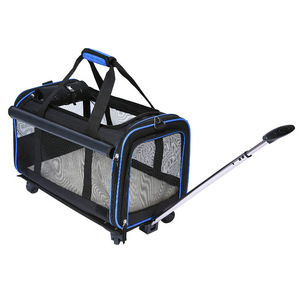 Pet carrier lightweight foldable large soft dog trolley carrier pet crates with removable wheels