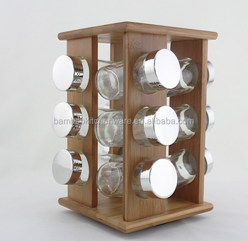 Square Turntable Glass Spice Jar Bamboo Rack Set