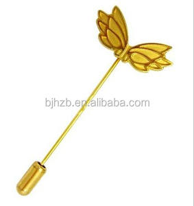 Souvenir gold plated long needle lapel pin