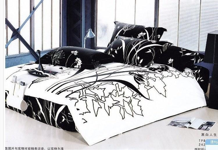 noir blanc dessin de la feuille lit queen couette housse de couette ensembles 4 pcs literie id. Black Bedroom Furniture Sets. Home Design Ideas