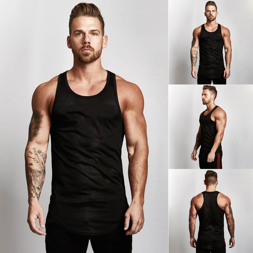 3f7a25ab87fee4 2019 ISHOWTIENDA Tank Top Men Bodybuilding Tank Top Mesh Breathable Bodybuilding  Fitness Vest Muscle Clothes  w35 From Silan