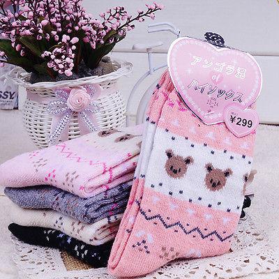 5 цветов 1 пара зима UltraWarm женщины сладкий мультфильм медвежонок рисунок длинный SoftWool носки