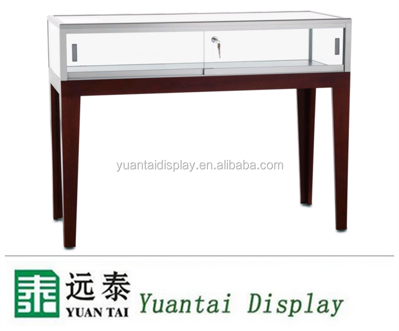 Jewelry Display Table / Cherry Legs, Tempered Glass Top & Locking Door
