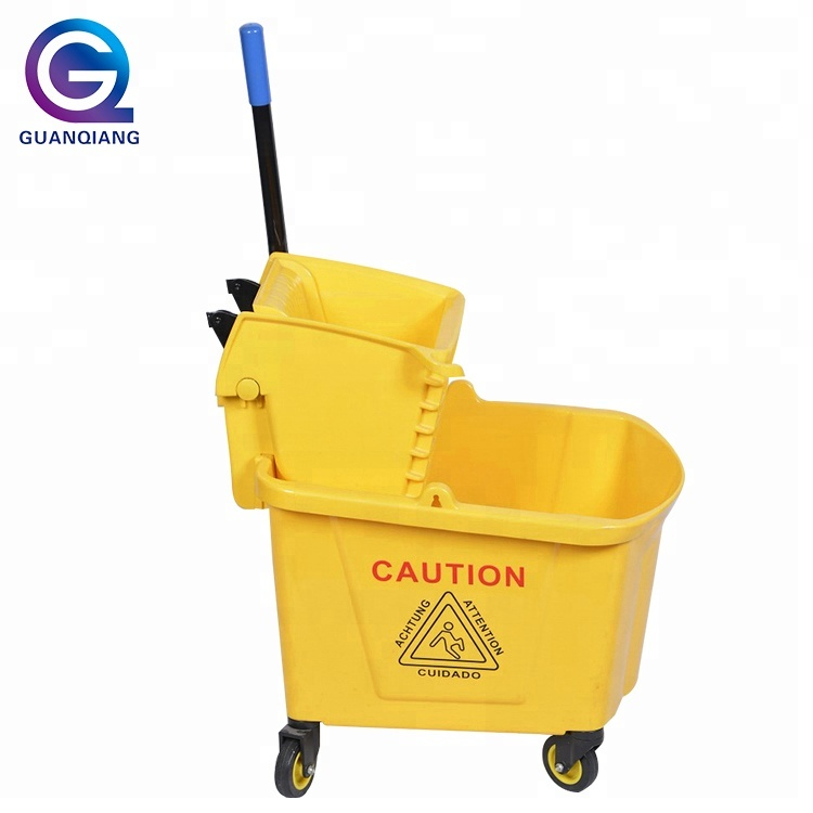 Wringer bucket cleaning plastic trolley down-press deluxe mop wringer