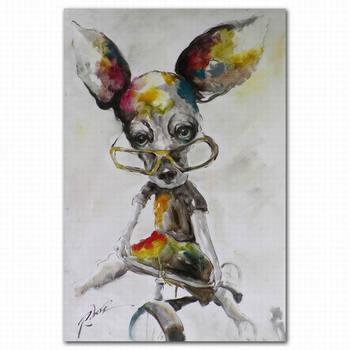 modern abstract cute dog animal face oil painting for kids room - Animal Painting For Kids