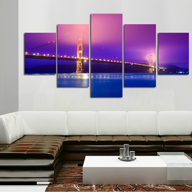 5 Panels Seascape Oil Painting Modern Home Decorative Art Canvas Sailing On Sea Pictures For Neon Lights On The Bridge