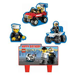 Lego City Cake Set Decorations Toppers 4 Pc Non Wick Candles