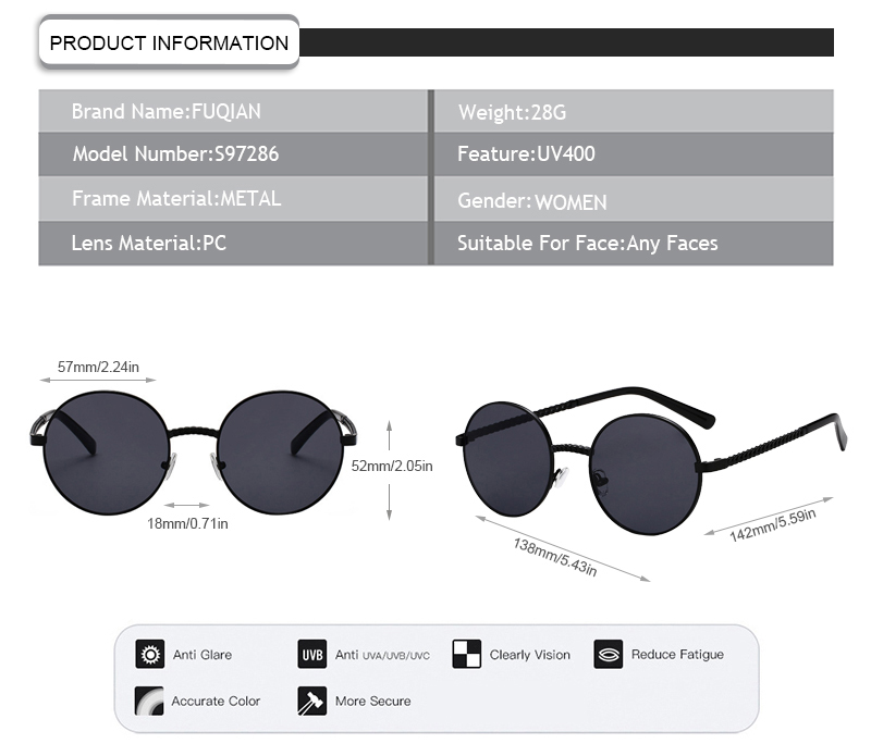 Fuqian women women's square sunglasses for business for lady-7