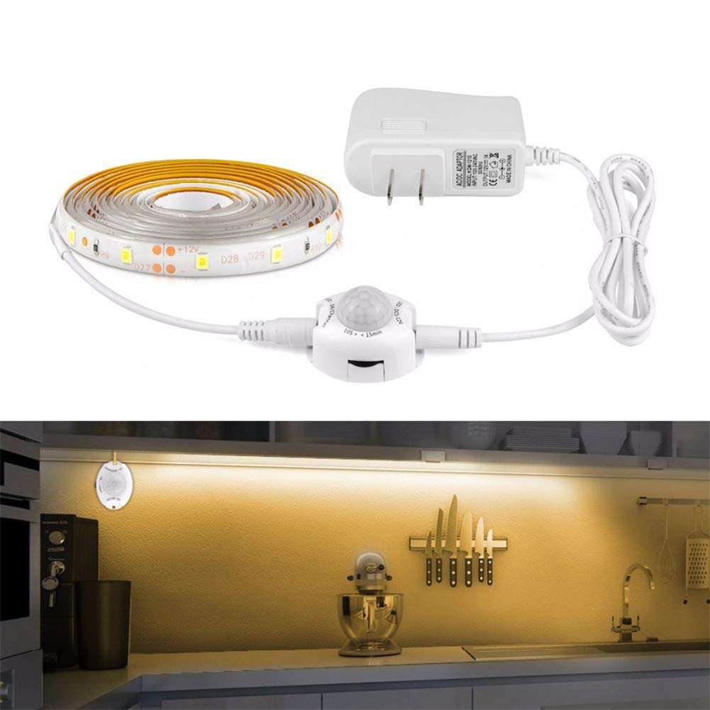 AIMENGTE LED Strip Lights Motion Activated,LED Bed Lights Dimmable, 1M 2M 3M 4M 5M LED Cabinet Light Tape Night Dusk to Dawn 110V-220V to 12V Power Adapter (2M, Warm White)