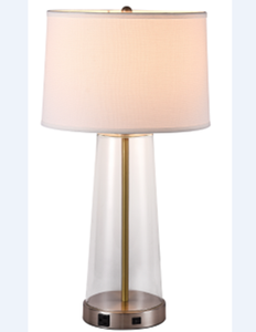 hotel custom table lamp brushed nickel&pantone E26 socket CFL 27W white linen shade 1X USB ,1 X outlet clear glass shade