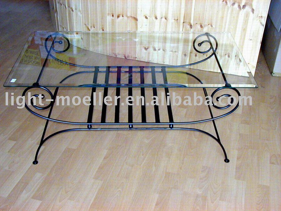 Mesas metal forjado y sobre de vidrio for Mesas de hierro forjado y madera