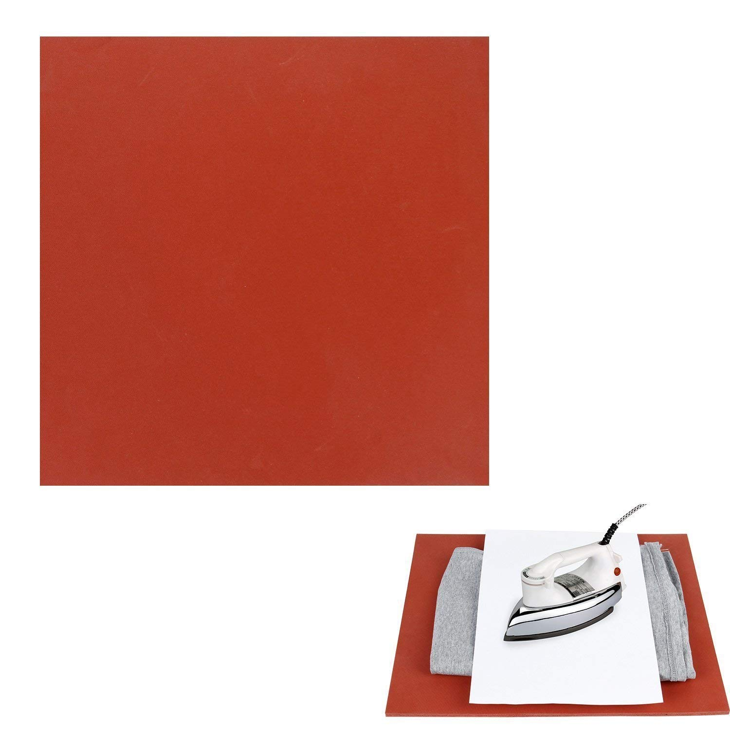 Porfiya Multipurpose Use Silicone Pad For Flat Heat Press Printing Machine Replacement High Temperature Resistance And Extra Thick Silica Gel Rubber Baking Mat,12 by 15 Inches (Red)