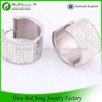 China made in china stainless steel large hoop earrings diamond plug earring body jewelry