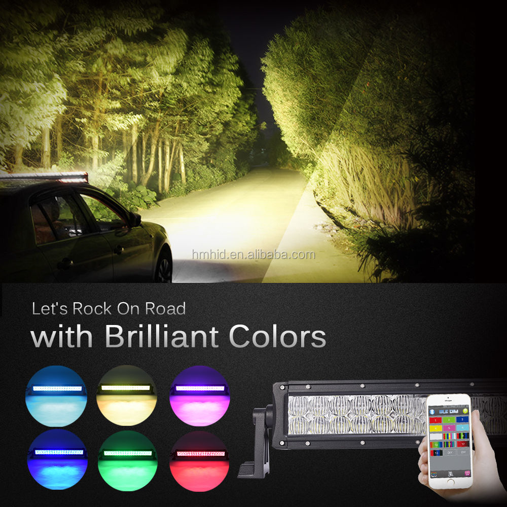 Double Row 22inch 9-32V 120W 12500LM App RGB 7 colors C ree 4D led light bar