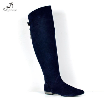 bd11a1f8ca60 Newest Women Navy Genuine Leather Suede Over the Knee Thigh High Boots Back  Buckle Zip Pointy