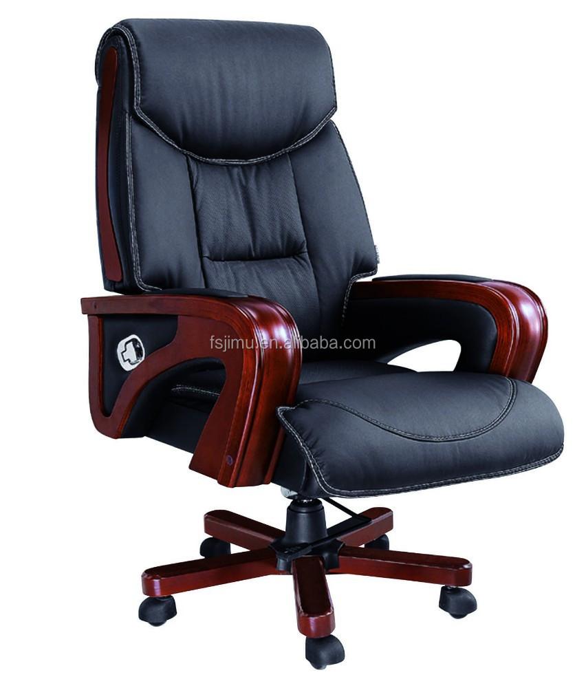 Silla giratoria de cuero de lujo reclinable silla de for Silla oficina reclinable