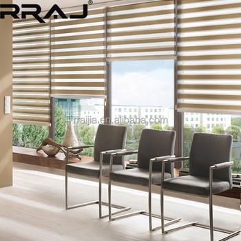 Motorized Zebra Curtains Or Office Dual Roller Blinds