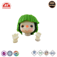 Green yarn hair plastic doll heads crafts