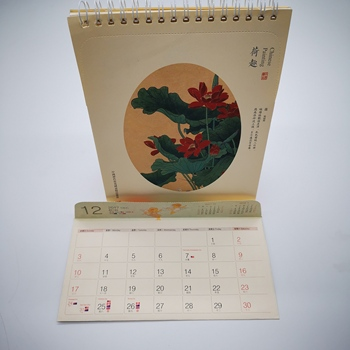 Wholesale custom gift printable decorative art paper sprial table desk calendar