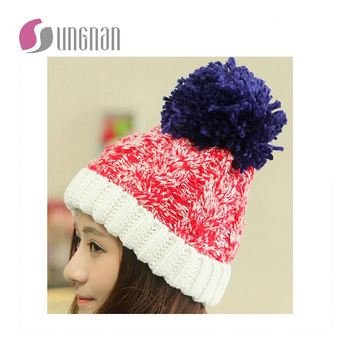 d76330231a2 New Custom Acrylic Jacquard Knitted Hat Cap Pom Pom Jacquard Beanie Hats  Wholesale