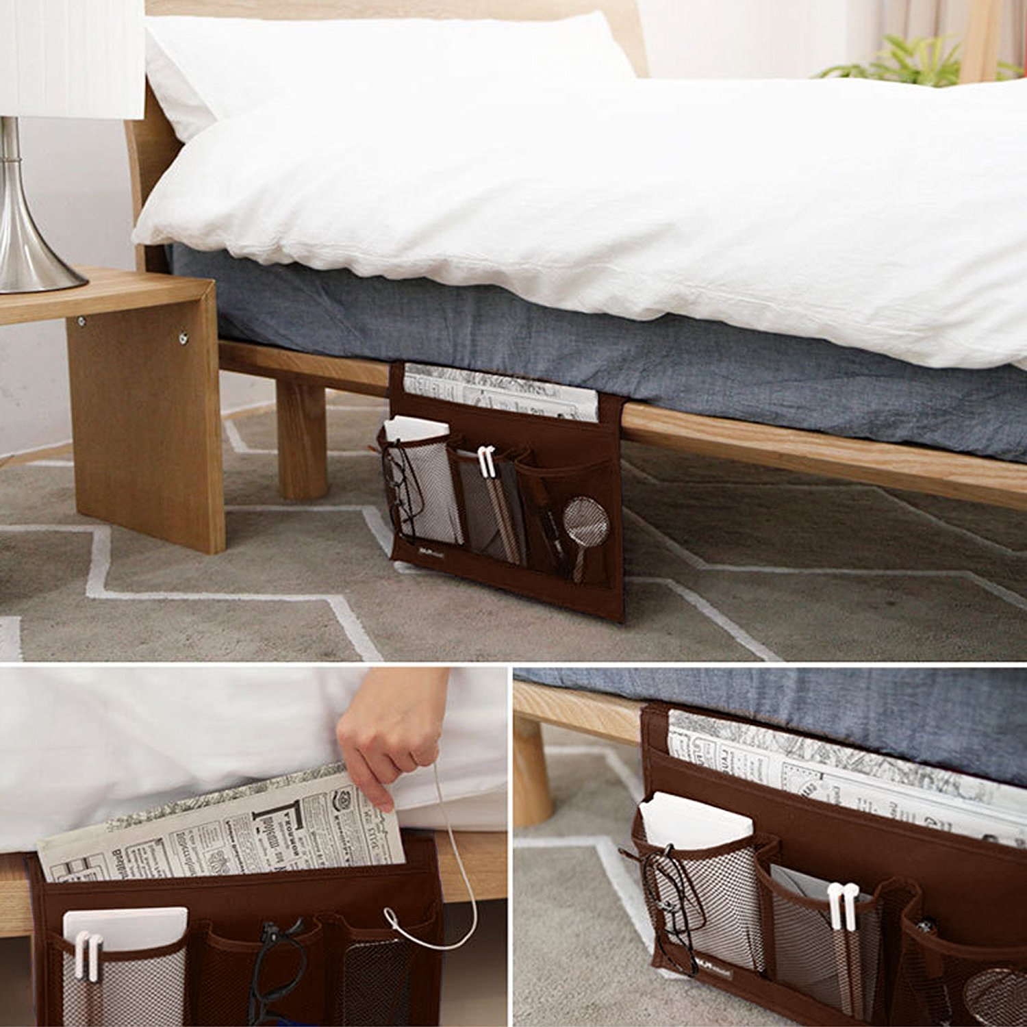 Get Quotations · Bedside Caddy Storage Organizer 4-Pocket Bedside Hanging Caddy Desk Storage Organizer Bag for & Cheap Bed Storage Caddy find Bed Storage Caddy deals on line at ...