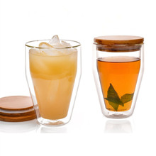 Wholesale New Mug Beautiful Double Wall Glass Tea Cup With Bamboo Lid
