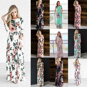 2019 HTK Spring Summer Floral Printed Long Dress 15 Colors