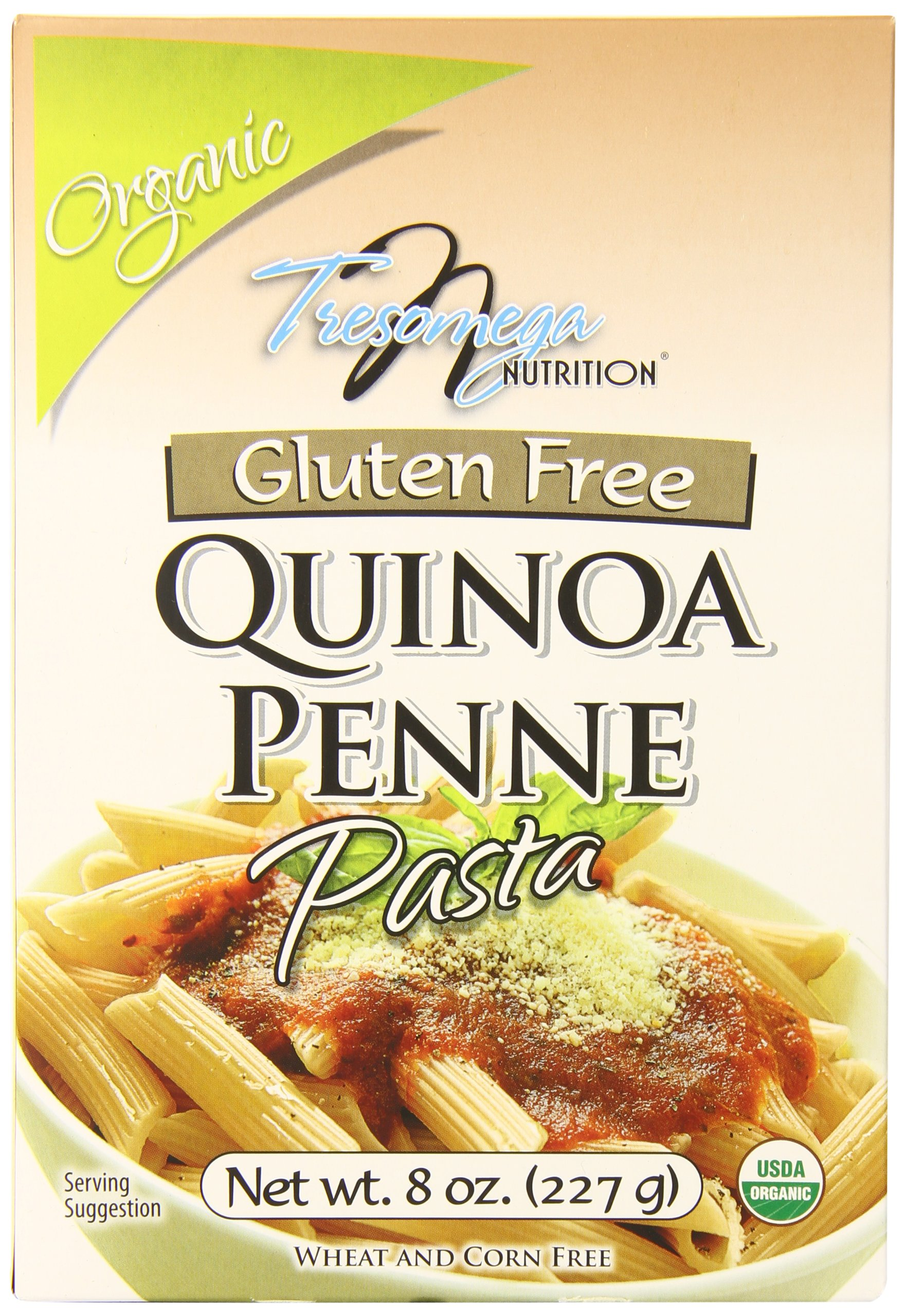TresOmega Nutrition–Organic Quinoa Penne Pasta–Made with Organic Quinoa, Rice and Amaranth for A Meal High in Protein and Fiber–8 oz. Box