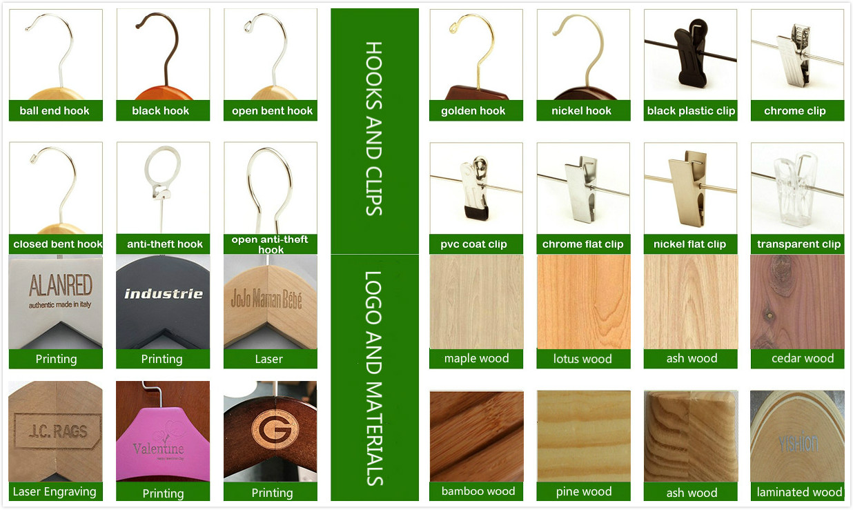 Customize logo non slip soft wooden skirt pant hangers with 2-adjustable metal clips hanger