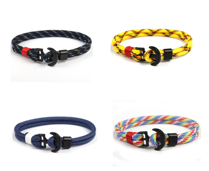 Unisex Bracelet in many different Colors Fashion and Trend nautical sailing rope Sailor Anchor Clasp Bracelet