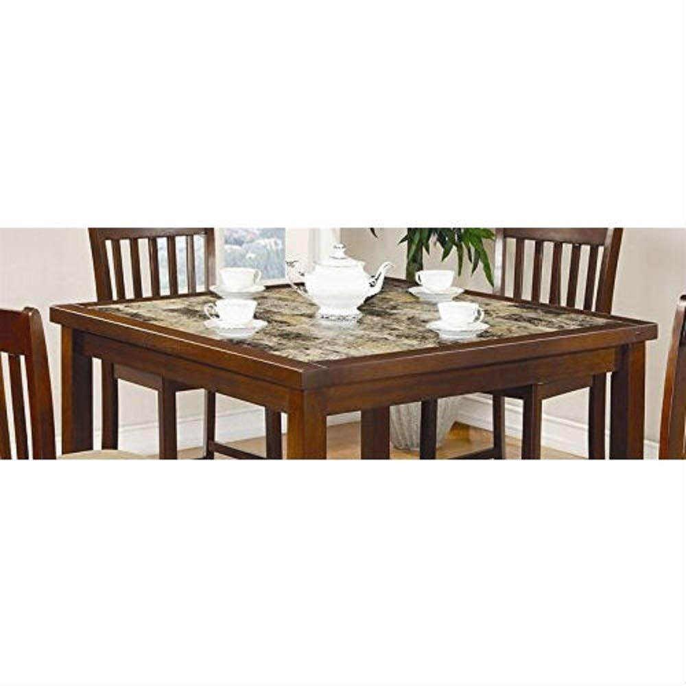 MyEasyShopping Casual 5-Piece Dining Set with Microfiber Padded Counter Height Stools Piece Buffet Mahogany Furniture 5 Walnut