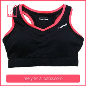 Black V neck racerback push up gym sports bra with removable cups