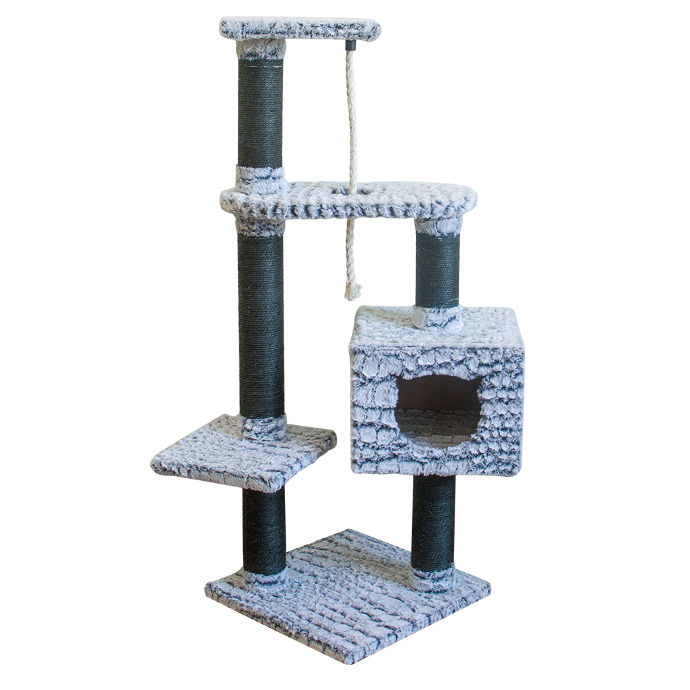 PV plush cat scratcher árvore decorativa interior com corda de sisal