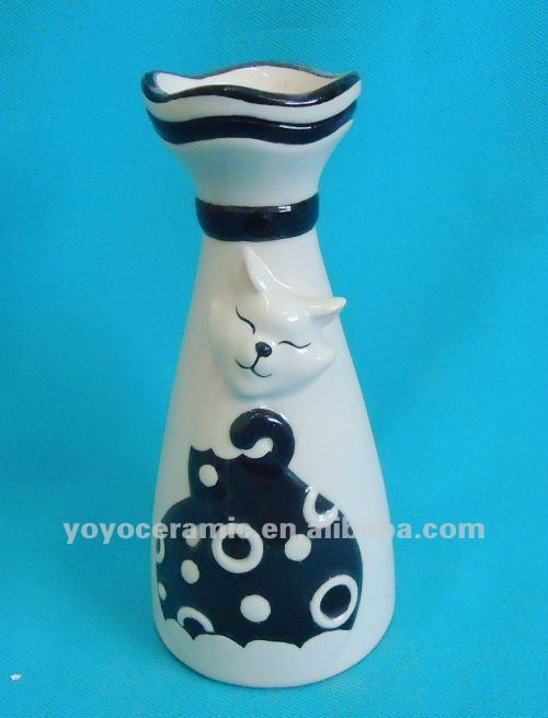 modern black and white cat decal tall porcelain flower vase decorative vases for hotels