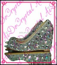 Aidocrystal 2016 diamante tacones altos tamaño más grande vestido de boda  peep toe zapatos 0c4c24e34d4f
