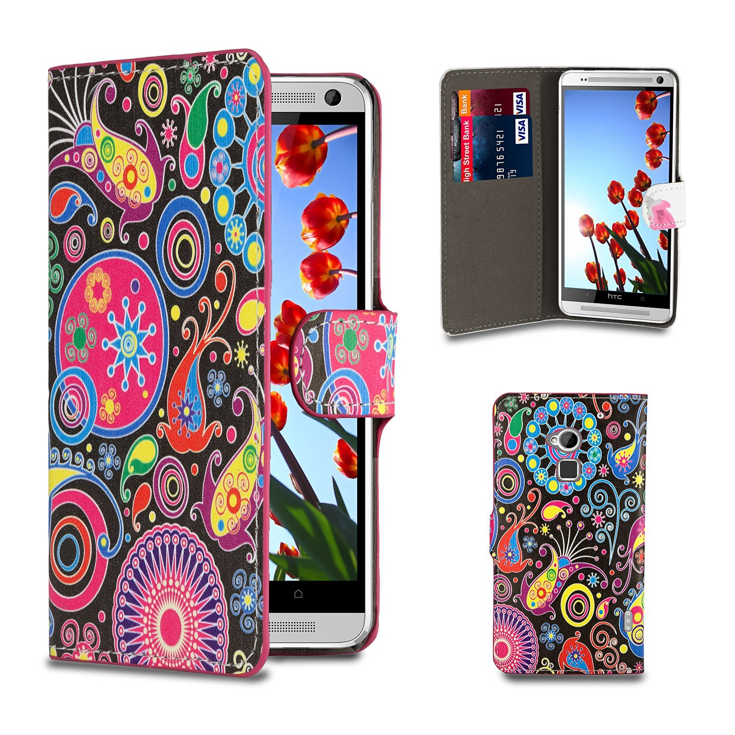 32nd® Design book wallet PU leather case cover for HTC One Max (T6) + screen protector and cleaning cloth - Jellyfish