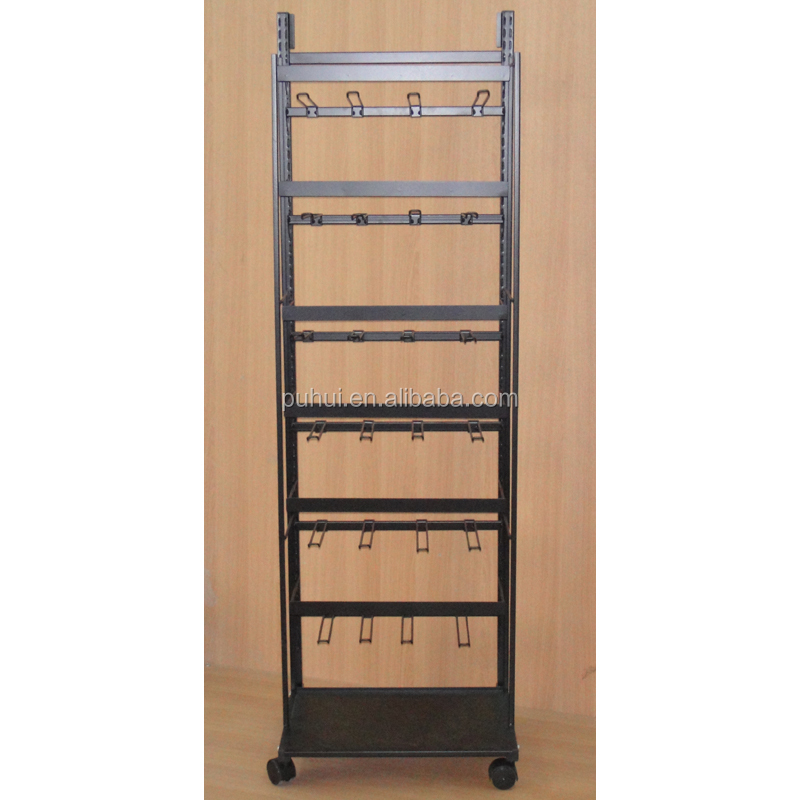 retail store exposition metal rack custom universal multi functional  steel wire display stand with adjustable peg hooks