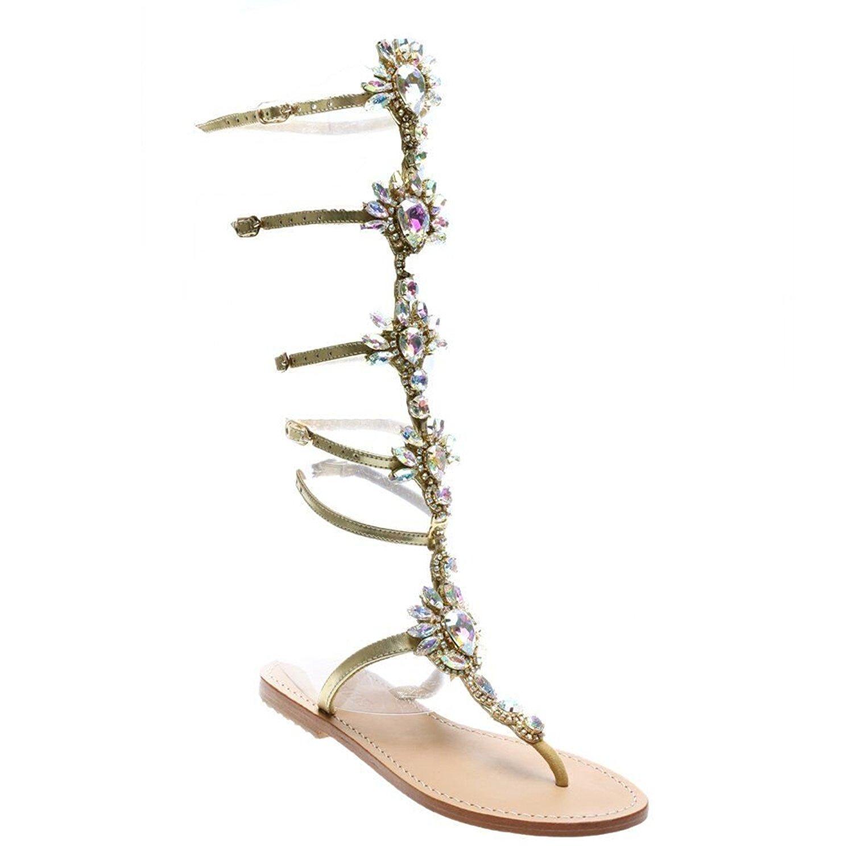Women's Ankle Strap Open-toe Rhinestone Gold Thong Grecian Flat Sandals