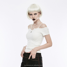 OPTEZ-145 <span class=keywords><strong>PUNK</strong></span> <span class=keywords><strong>RAVE</strong></span> Gothique femme Mode Col Carré Manches Courtes <span class=keywords><strong>T</strong></span>-Shirt Décontracté