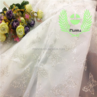 Silver evening dress made in china alibaba supplier organza glitter tulle fabric