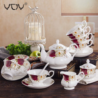 15pcs 17pcs custom logo ceramic new bone china tea cup gift box european coffee pot set