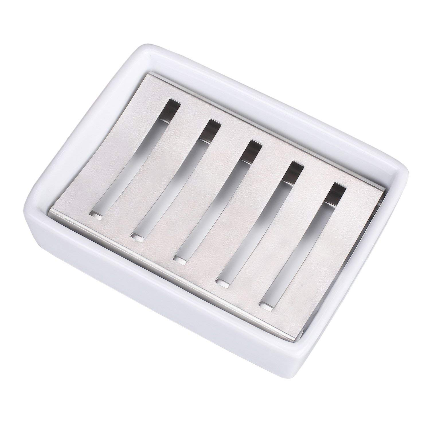 Stainless Steel And Ceramic Soap Dish Stainless Steel Soap Holder for Bathroom and Shower Double Layer Draining Soap Box (Large)