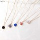 2019 New Fashion Jewelry Round Plastic Resin Stone Pendant Gold Plated Double Chain Druzy Pendant Choker Necklace for Women Girl
