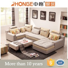 African new design living room furniture for home modern fabric corner u shaped sofa set
