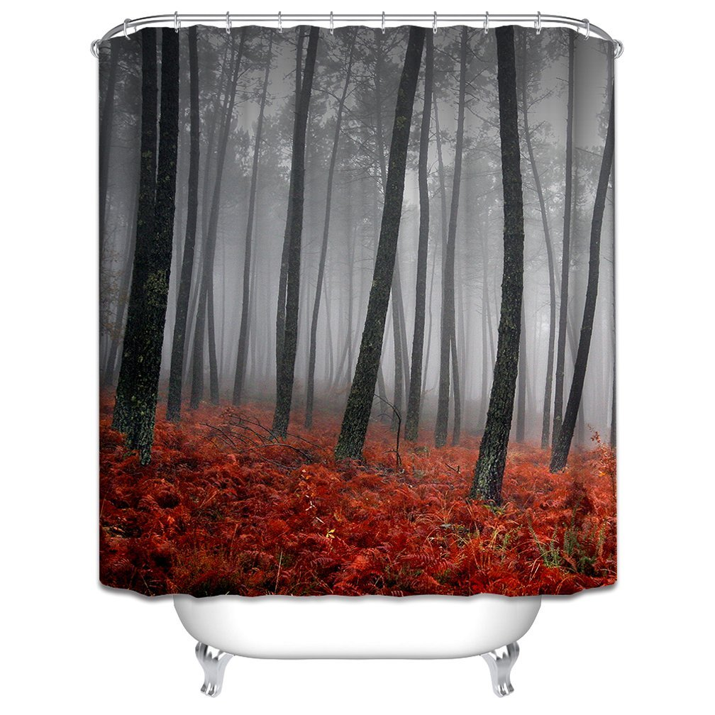 Morning-sunshine Mystic Forest Trees and Leaves Red Grass Modern Art Flower Rainy Foggy Fall Morning Gray Scene Print Waterproof Polyester Fabric Shower Curtain, Black and Gray (72Wx72H)